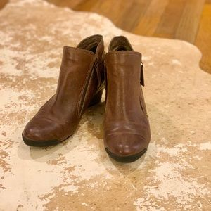 🥾Brown leather double zip boots size 36/ size 6